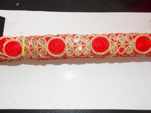 1 M indio rojo lentejuelas de oro recorte Encaje Traje árabe Cinta Trenza recorte