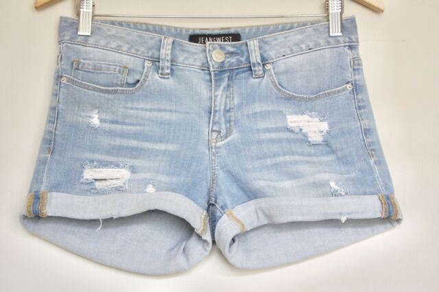 [JEANSWEST] Women's Rolled Hem Distressed Casual Denim Shorts - Size 6