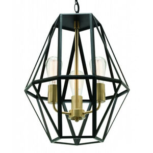 NEW Mercator Prisma 3 Light Black Metalware Pendant