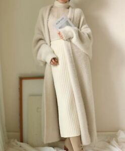 Women-Coat-softly-Faux-wool-Cashmere-long-Cardigan-Sweater-Jackets-jumper-parka
