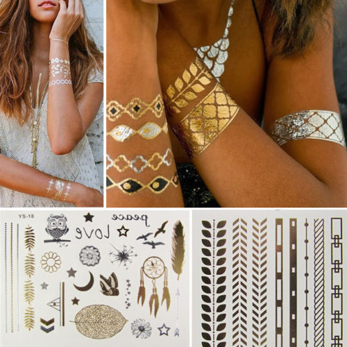 10 Patterns Metallic Gold Silver Temporary Tattoos Boho Flash Body Nail Beach