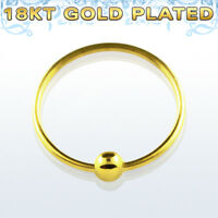 22g Endless Nose Hoop 18k Yellow Gold Plated Sterling Silver Closure Ball Body