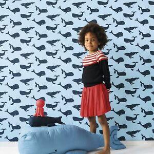 Enfant-XVIII-Baleines-Papier-Peint-Bleu-Rasch-531510-Neuf