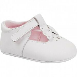 NWT Baby Deer White Leather T Strap Bow Booties Crib Shoes
