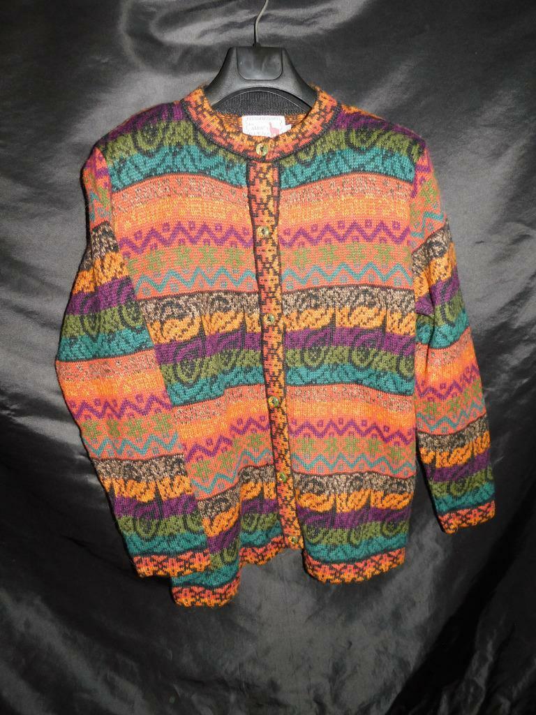 Alpaca Connection L Peru orange bluee Purple Stripe Cardigan Sweater Hip Length l