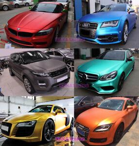 Full-Car-Wrap-Satin-Matte-Metallic-Chrome-Vinyl-Sticker-Decal-Bubbles-Free-CF