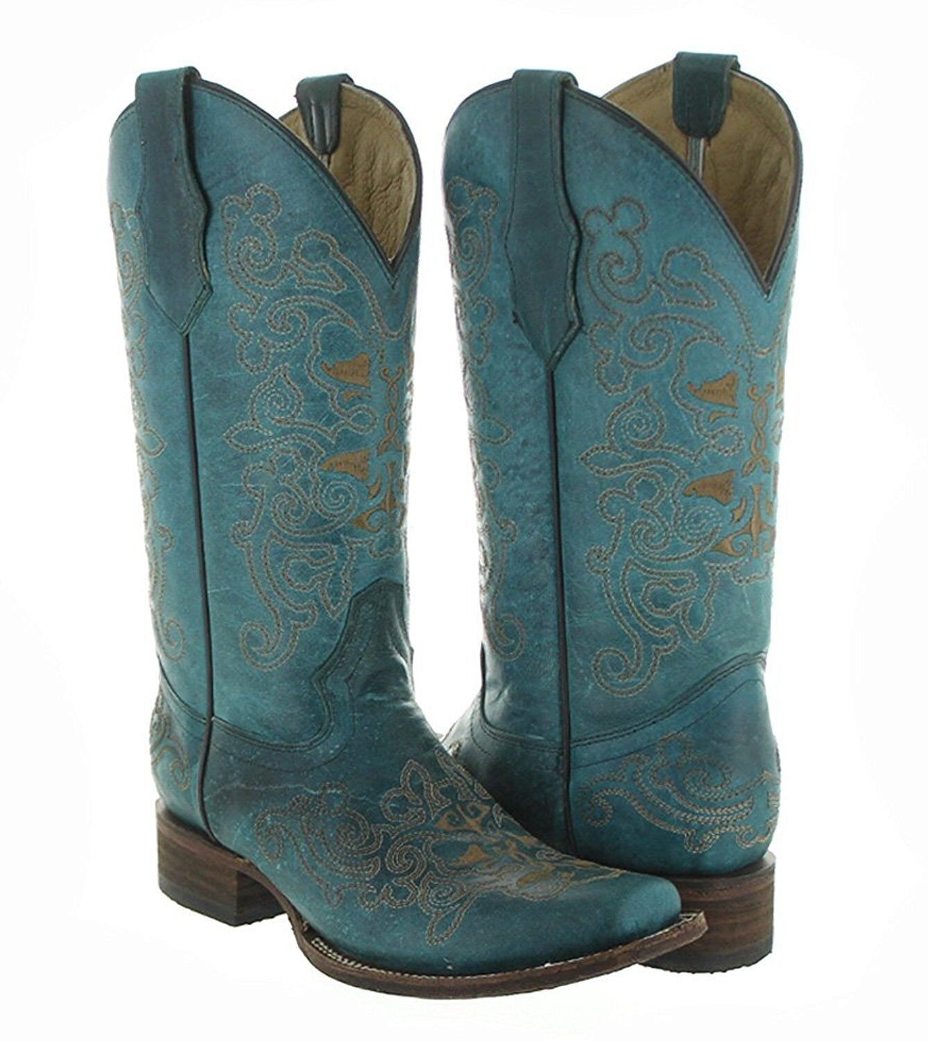 Circle G by Corral Women's Turquoise Embroidered Square Toe Cowgirl Boots L5135