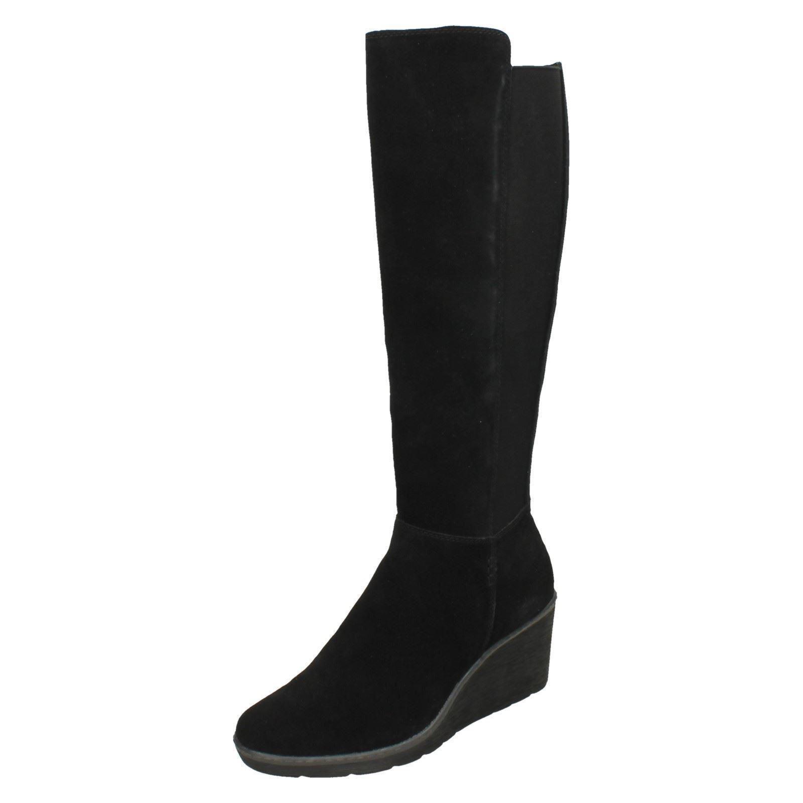 Clarks Mujer de Cuña por la Rodilla Rodilla Rodilla botas ' Hazen Madison'  precios razonables