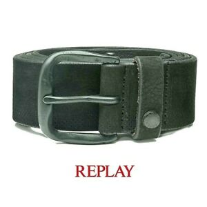 REPLAY-cintura-da-uomo-in-pelle-95-cm-nabuk-grigio-con-fibbia-metallo-vero-cuoio