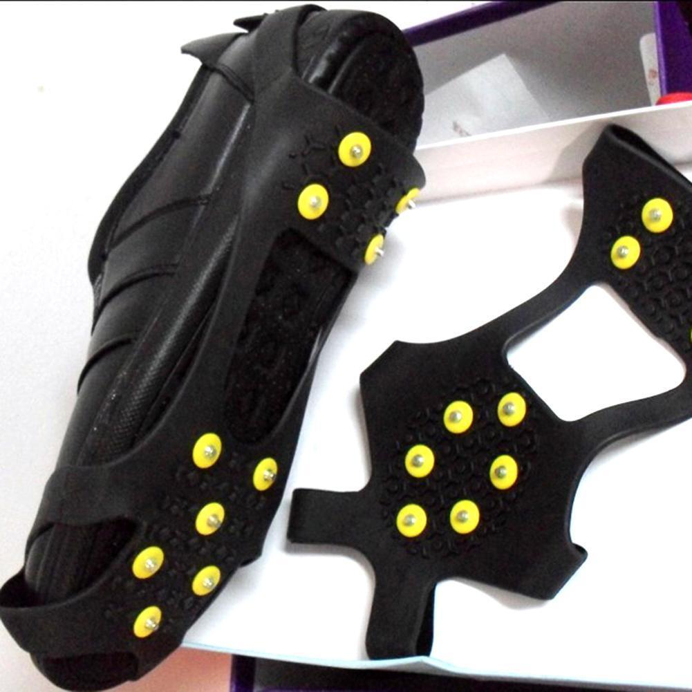 Anti-skid Grips shoes Spikes Ice Snow Crampons Cleats For Hiking Climbing L