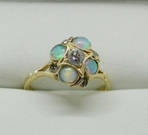 Stunning-Antique-18-Carat-Gold-Opal-And-Diamond-Ring-Size-O