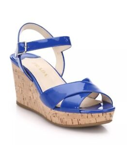 26d648d8a3c New Prada Blue Patent Leather Criss Cross Cork Wedge Sandals Size 39 ...