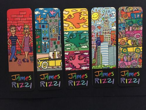 new /& 1 set of 5 Motifs after 3D works James Rizzi: Art Bookmarks Choice