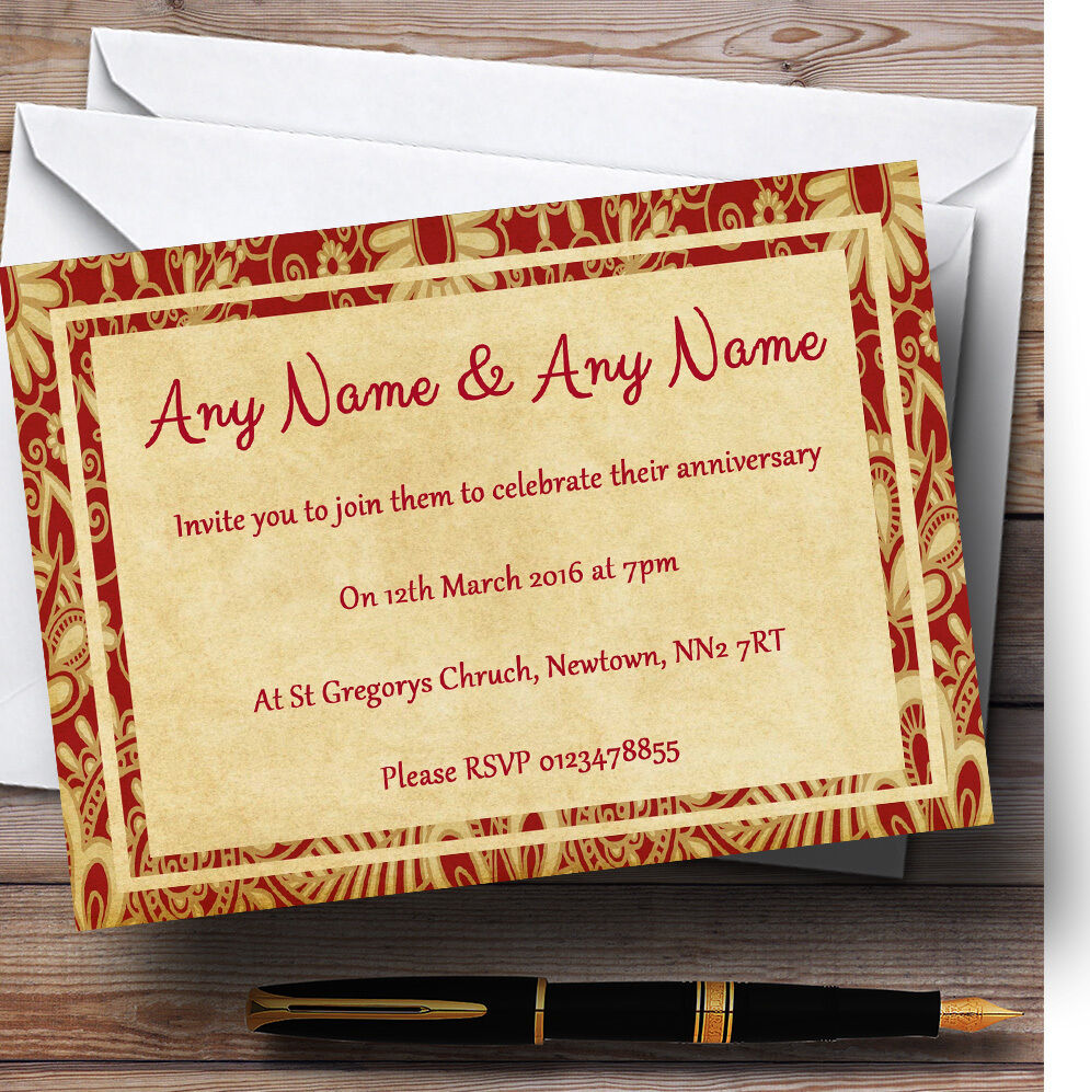 Vintage Royal rot Postcard Style Personalised Anniversary Party Invitations