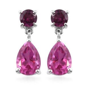 Silver-Dangle-Drop-Earrings-Radiant-Orchid-Triplet-Quartz-Rhodolite-Garnet-Gift