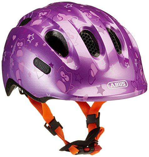ABUS Girl Smiley 2.0 Bicicletta Casco, Ragazze, Smiley 2.0, Stella Viola