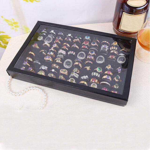 100 Slot Ring Storage Ear Pin Clear Display Box Jewelry Organizer Holder Case MT