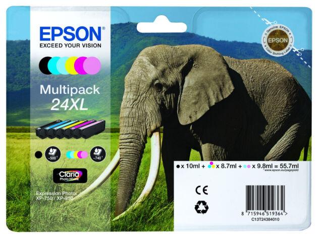 6x XL DRUCKER TINTE PATRONEN EPSON XP750 XP760 XP850 XP860 XP950 XP55 Elefant