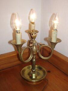 Rare-lampe-de-table-americaine-3-feux-en-laiton-annees-1950