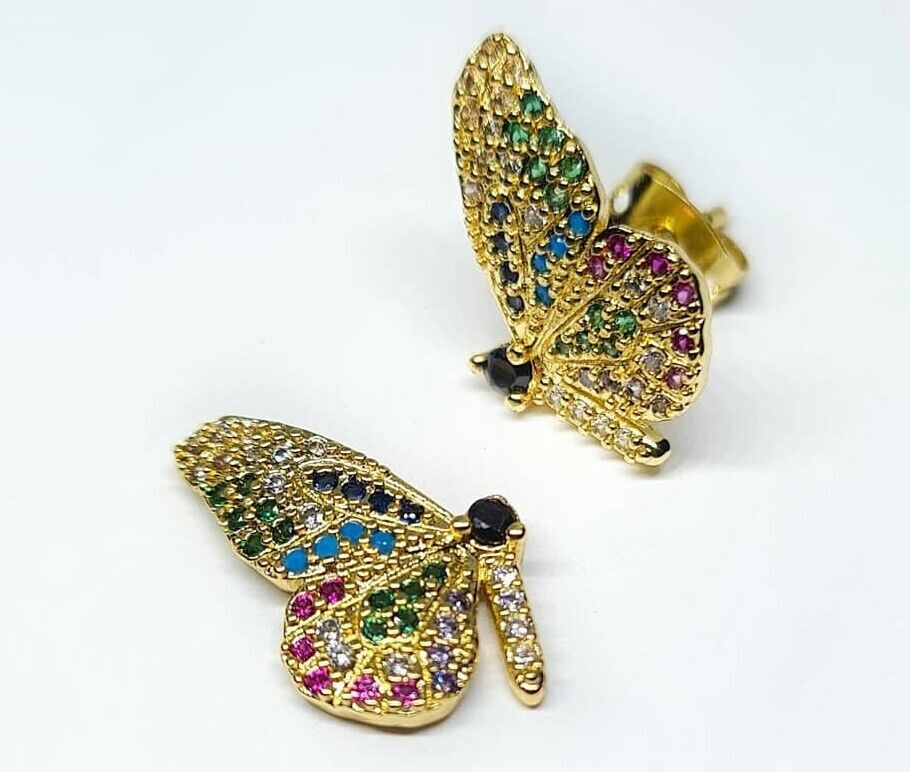 -we❤- Colourful Crystal Gold Colour Stud Butterfly Earrings