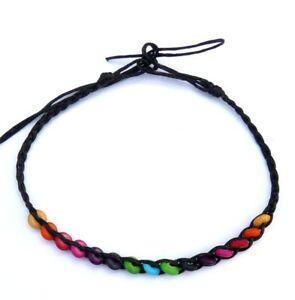 schwarze-Fusskette-Fussbaendchen-Damen-Herren-Perlen-verstellbar-Fusskettchen-NEU