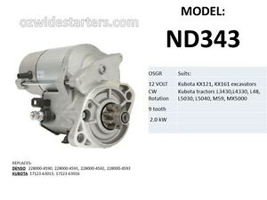 New-starter-motor-suits-Kubota-tractors-L3430-L4330-L48-L5030-M59-MX5000