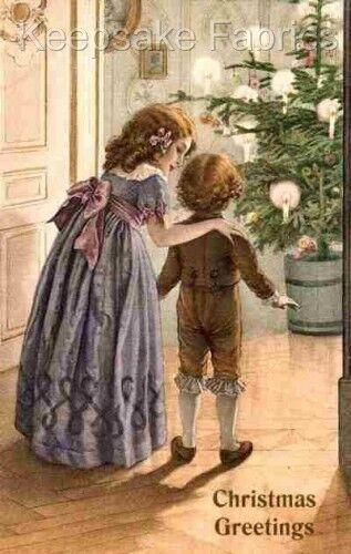 Victorian Children Christmas Morning Block Multi Sizes