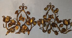 Gorgeous Pair Vtg Italian Tole Gilt Candle Sconces Hollywood Regency Mid Century