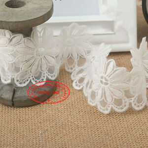 1-Yard-white-Flowers-Embroidered-Lace-Trim-Ribbon-Sewing-Craft-Home-decor-FL49