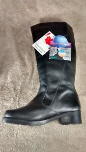 New-Womens-Leather-Boots-Black-SIze-6-Jessica-Style-Gloria-made-in-Canada