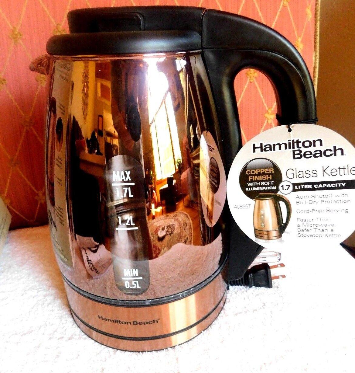 Hamilton Beach Glass Kettle Copper Hot Coffee Water Kitchen Boiler Pot Cordless