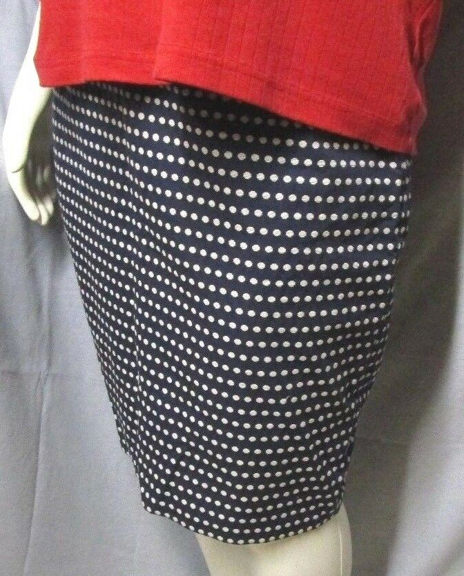 Polka Dot Straight Pencil Skirt Navy White Knee Length Cotton Career 16 NWT  99