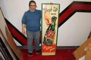 Rare-Large-Vintage-1950-7Up-7-Up-034-Fresh-Up-034-Soda-Pop-54-034-Embossed-Metal-Sign
