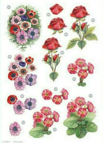Craft UK A4 Die Cut 3D Decoupage Sheet línea 117-Flores Anémonas Rose Primrose