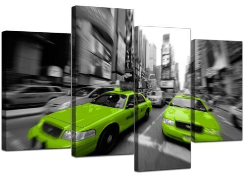 Large Black White Lime Green New York Canvas 130cm Wide Pictures 4027