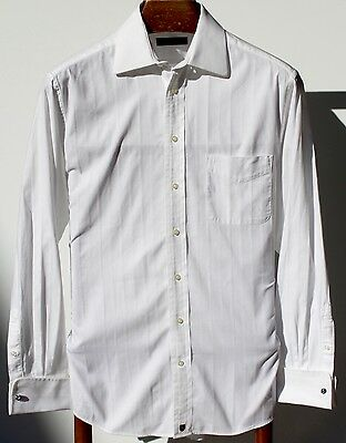 Henry Jacobson 15.5/34-35 Gent's White Striped Pique Cotton French Cuff LS Shirt
