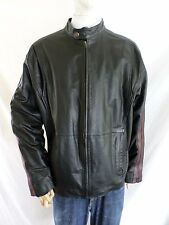 EXCELLED black leather café racer sleeve stripe motorcycle biker jacket XL
