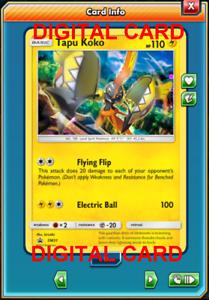 Pokemon Card TCG Tapu Koko SM31 Online Card PTCGO Digital Card
