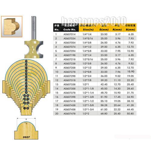 """ARDEN Bull Nose Router Bit 1//2*1//4-1//2 Shank Half Round Side Cutter 1//4/""""×1//2 Bit"""