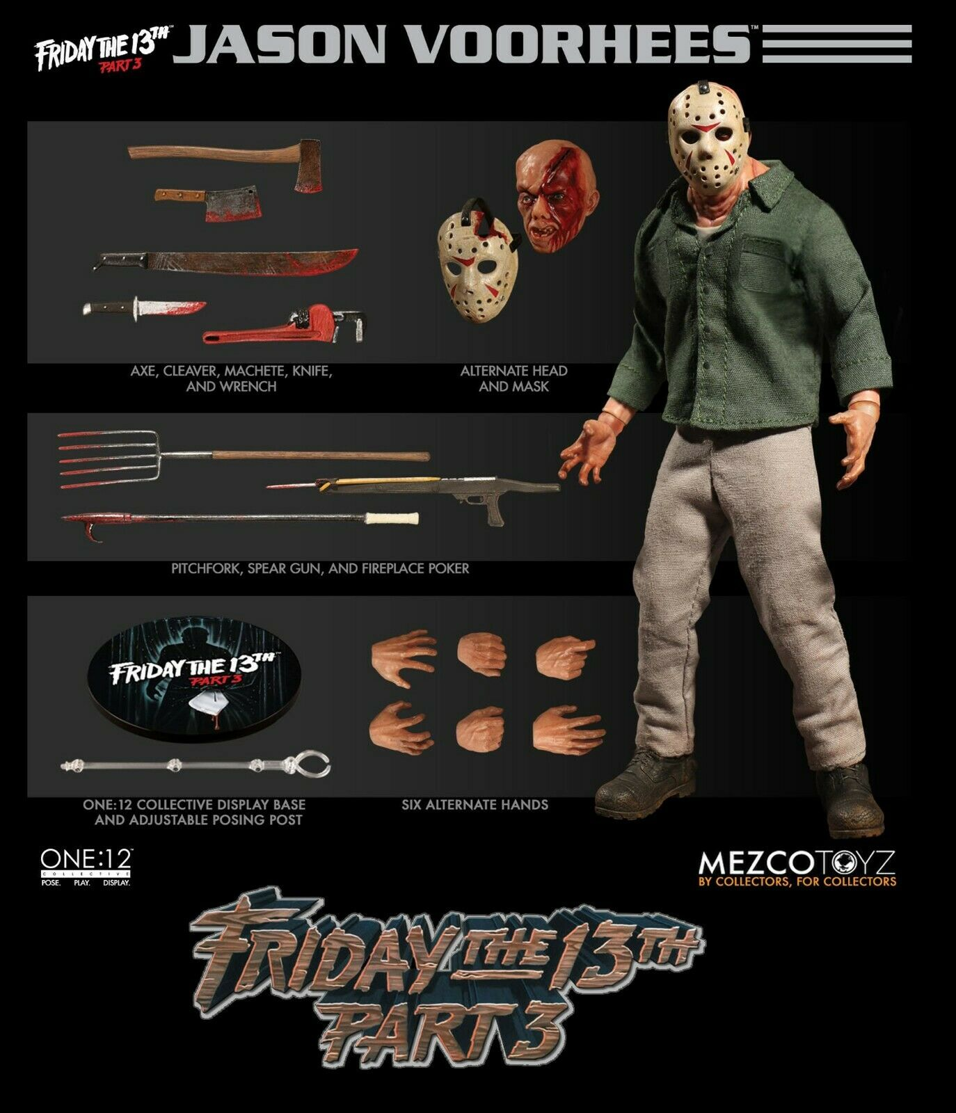 Mezco ONE 12 Collective JASON VOORHEES - Friday The 13th Part III 3 Mint in Box
