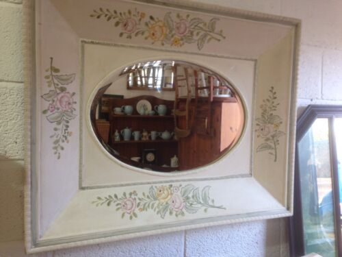 A Beautiful Vintage Hand Painted Bevelled Wall Mirror