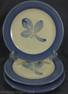 Pfaltzgraff-Villa-Flora-Salad-Snack-Plates-Lot-of-3-Mexico-Backstamp-Blue-Leaves