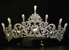 VINTAGE DESIGN ORNATE PEARL CRYSTAL ROYAL PRINCESS CROWN TIARA - BRIDAL WEDDING