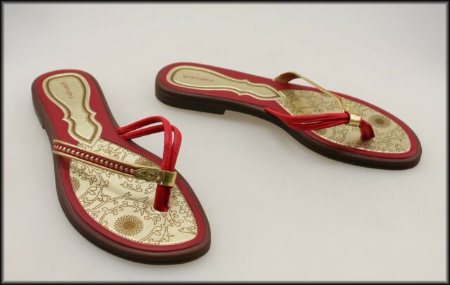 GRENDHA WOMEN'S FLAT CASUAL RED & GOLD THONGS SHOES SIZE 9