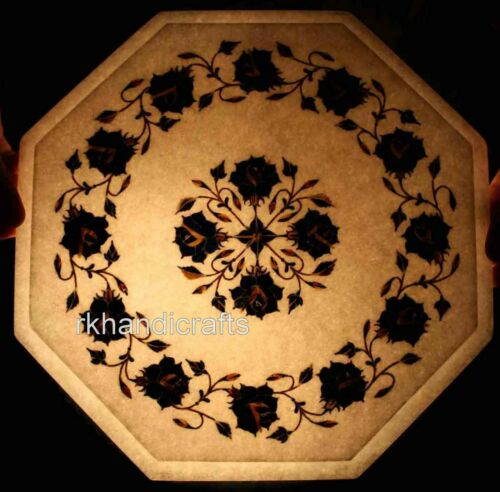 Marble Side Table Top Lapis Lazuli Stone Inlaid Coffee Table with Heritage Art
