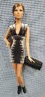 Herve Leger Black White Bandage Dress Mattel Barbie Long Brunette Braided Hair