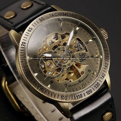 Men Vintage Bronze Automatic Mechanical Skeleton Analog Leather Band Wrist Watch