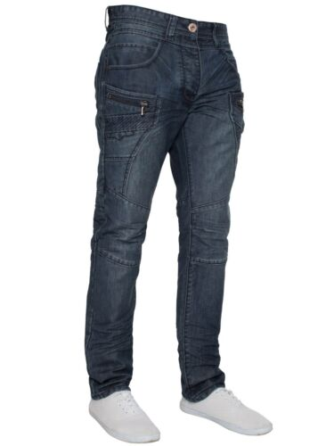 Eto Funky Dark Blue Stonewashed Casual Denim Regular Thigh Tapered leg Fit Jean
