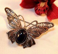 Schmetterling Silber Lapis Brosche Lapislazuli Falter Insekt / bh 074