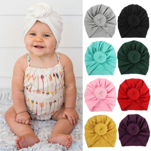 For Newborn Toddler Kids Baby Indian Turban Knot Cotton Beanie Hat Cap Unisex